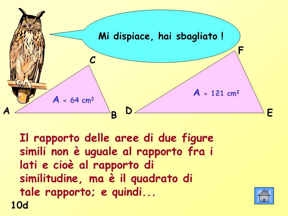 Mi dispiace, hai sbagliato ! 10d A = 64 cm 2 A = 121 cm 2 Il rapporto delle aree di due figure simili non è uguale al rapporto fra i lati e cioè al ra