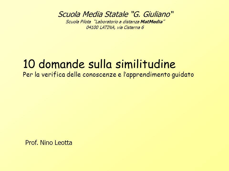 Scuola Media Statale G. Giuliano Scuola Pilota Laboratorio a distanza MatMedia 04100 LATINA, via Cisterna 6 10 domande sulla similitudine Per la verif