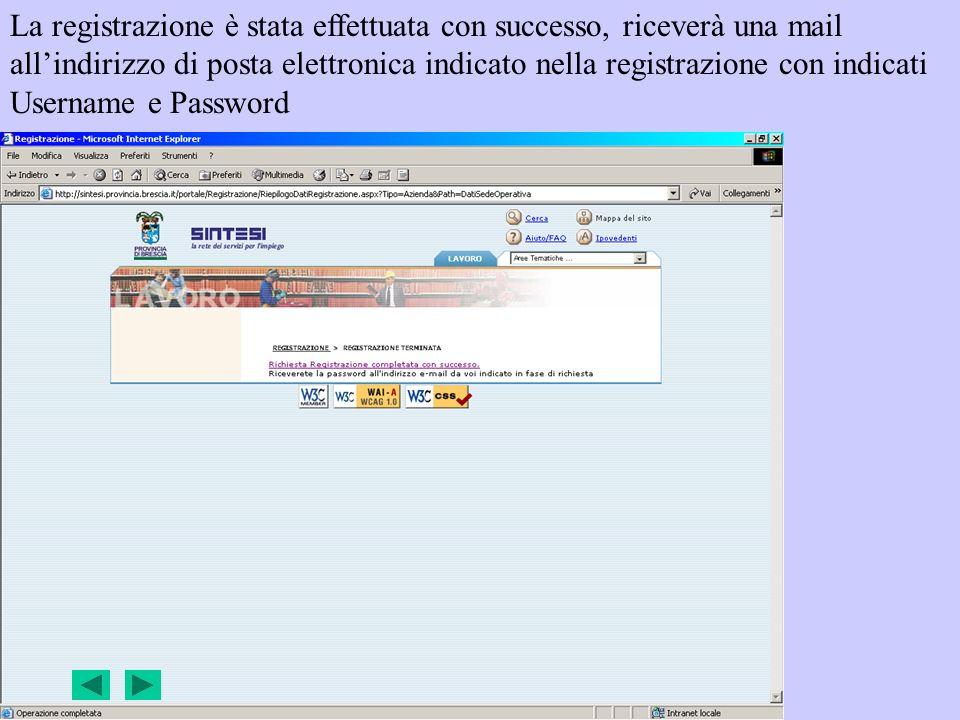La registrazione è stata effettuata con successo, riceverà una mail allindirizzo di posta elettronica indicato nella registrazione con indicati Userna