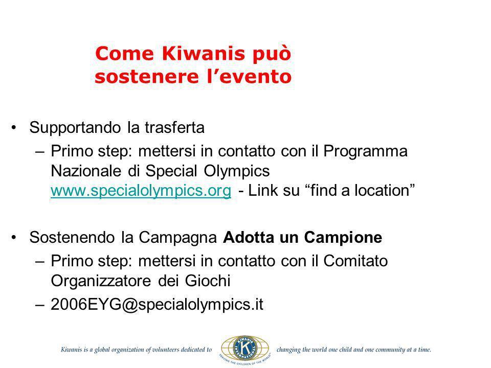 Come Kiwanis può sostenere levento Supportando la trasferta –Primo step: mettersi in contatto con il Programma Nazionale di Special Olympics www.speci