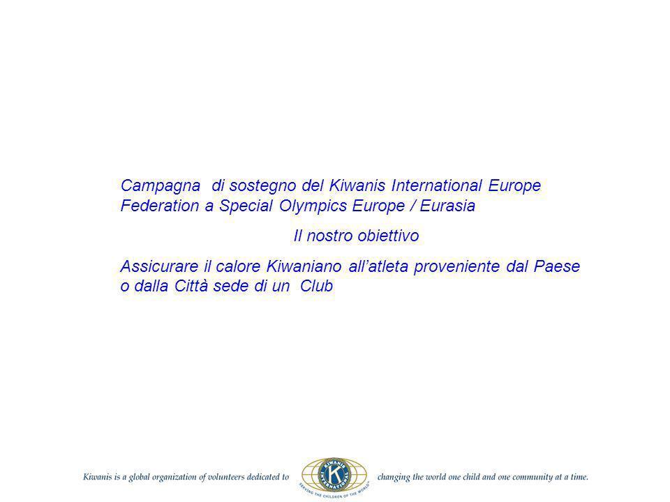 Campagna di sostegno del Kiwanis International Europe Federation a Special Olympics Europe / Eurasia Il nostro obiettivo Assicurare il calore Kiwaniano allatleta proveniente dal Paese o dalla Città sede di un Club