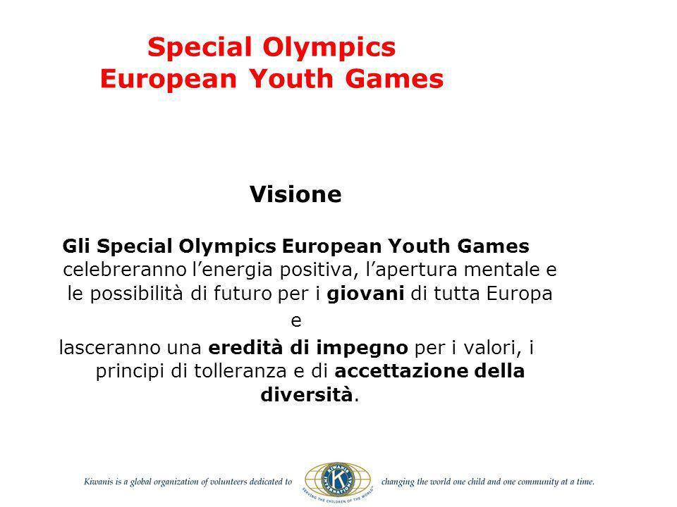 Visione Gli Special Olympics European Youth Games celebreranno lenergia positiva, lapertura mentale e le possibilità di futuro per i giovani di tutta Europa e lasceranno una eredità di impegno per i valori, i principi di tolleranza e di accettazione della diversità.