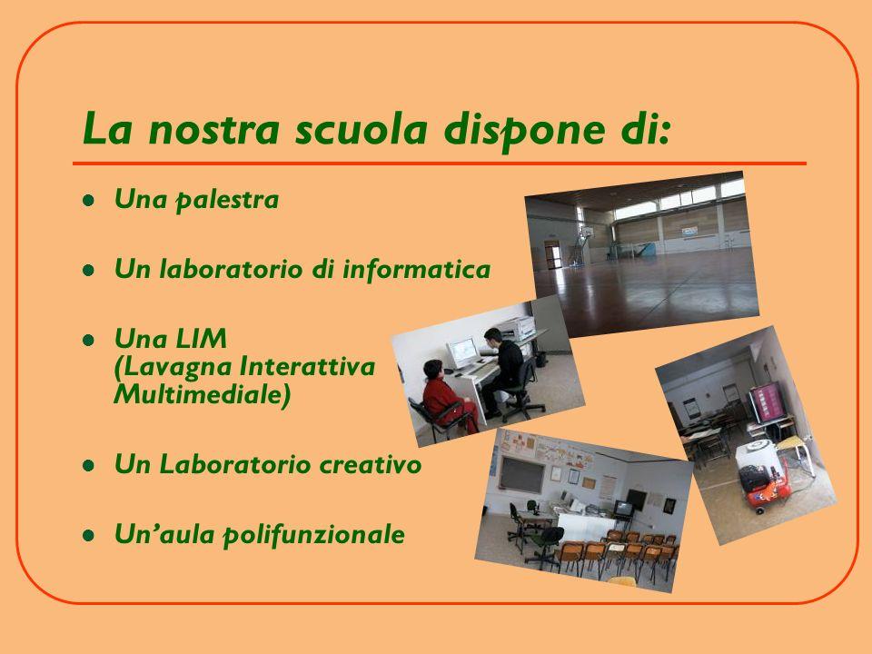 La nostra scuola dispone di: Una palestra Un laboratorio di informatica Una LIM (Lavagna Interattiva Multimediale) Un Laboratorio creativo Unaula polifunzionale