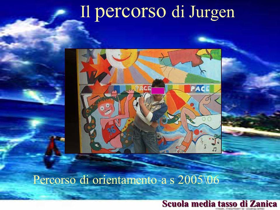 Il percorso di Jurgen Percorso di orientamento a s 2005\06 Scuola media tasso di Zanica