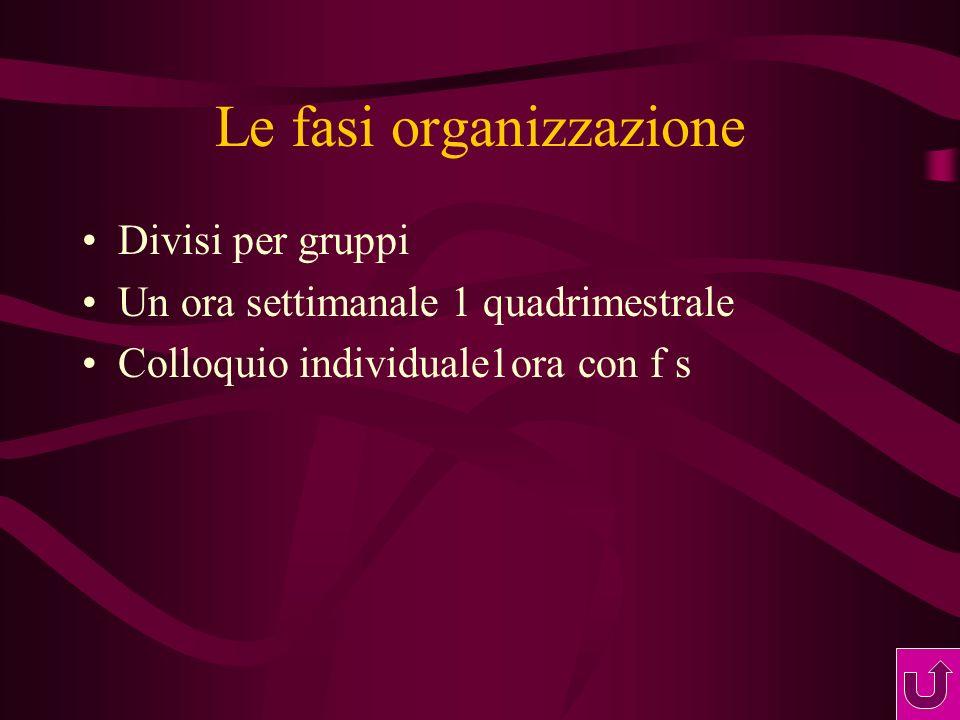 Le fasi organizzazione Divisi per gruppi Un ora settimanale 1 quadrimestrale Colloquio individuale1ora con f s