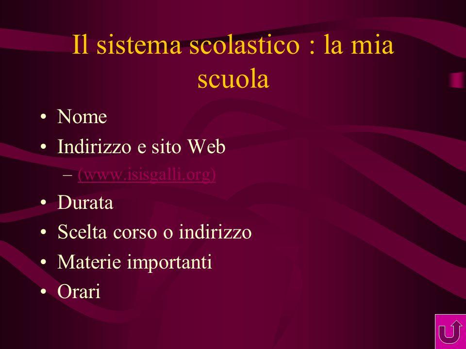 Il sistema scolastico : la mia scuola Nome Indirizzo e sito Web –(www.isisgalli.org)(www.isisgalli.org) Durata Scelta corso o indirizzo Materie importanti Orari