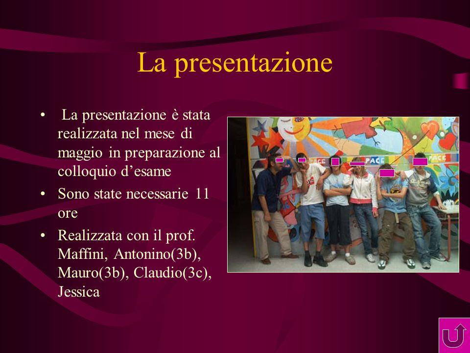 La presentazione La presentazione è stata realizzata nel mese di maggio in preparazione al colloquio desame Sono state necessarie 11 ore Realizzata con il prof.