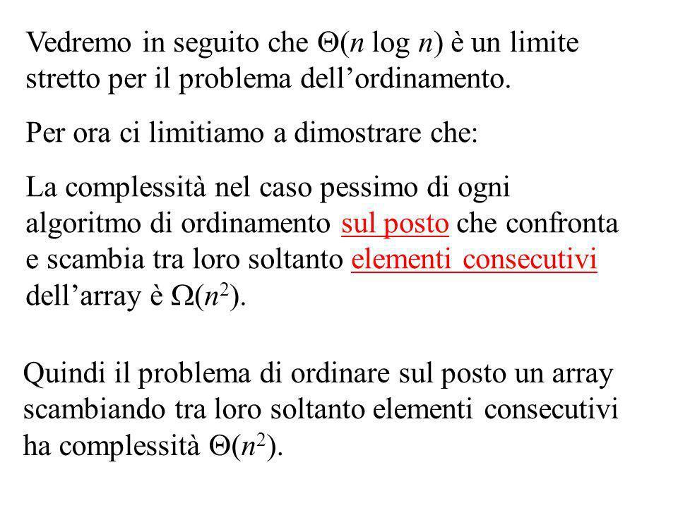 Vedremo in seguito che (n log n) è un limite stretto per il problema dellordinamento.