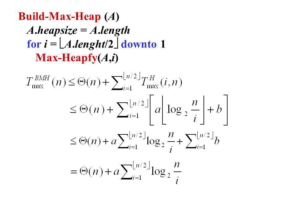 Build-Max-Heap (A) A.heapsize = A.length for i = A.lenght/2 downto 1 Max-Heapfy(A,i)
