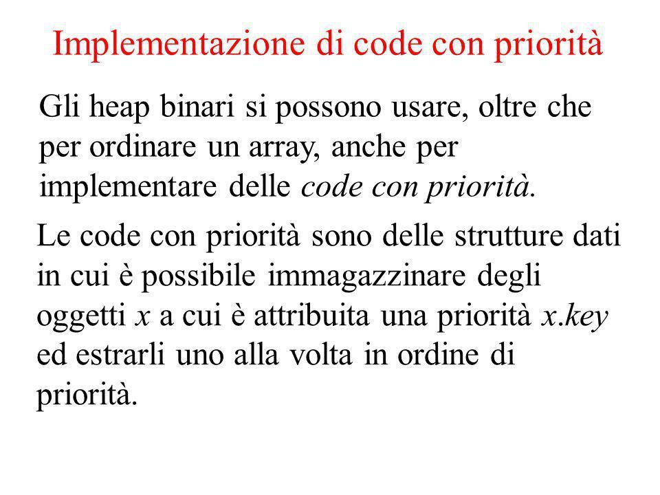 Implementazione di code con priorità Gli heap binari si possono usare, oltre che per ordinare un array, anche per implementare delle code con priorità.