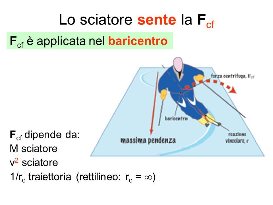 Lo sciatore sente la F cf F cf dipende da: M sciatore v 2 sciatore 1/r c traiettoria (rettilineo: r c = ) F cf è applicata nel baricentro