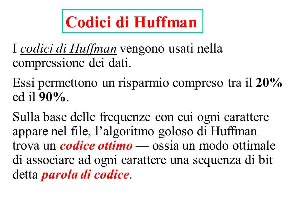 Codici di Huffman I codici di Huffman vengono usati nella compressione dei dati. Essi permettono un risparmio compreso tra il 20% ed il 90%. Sulla bas