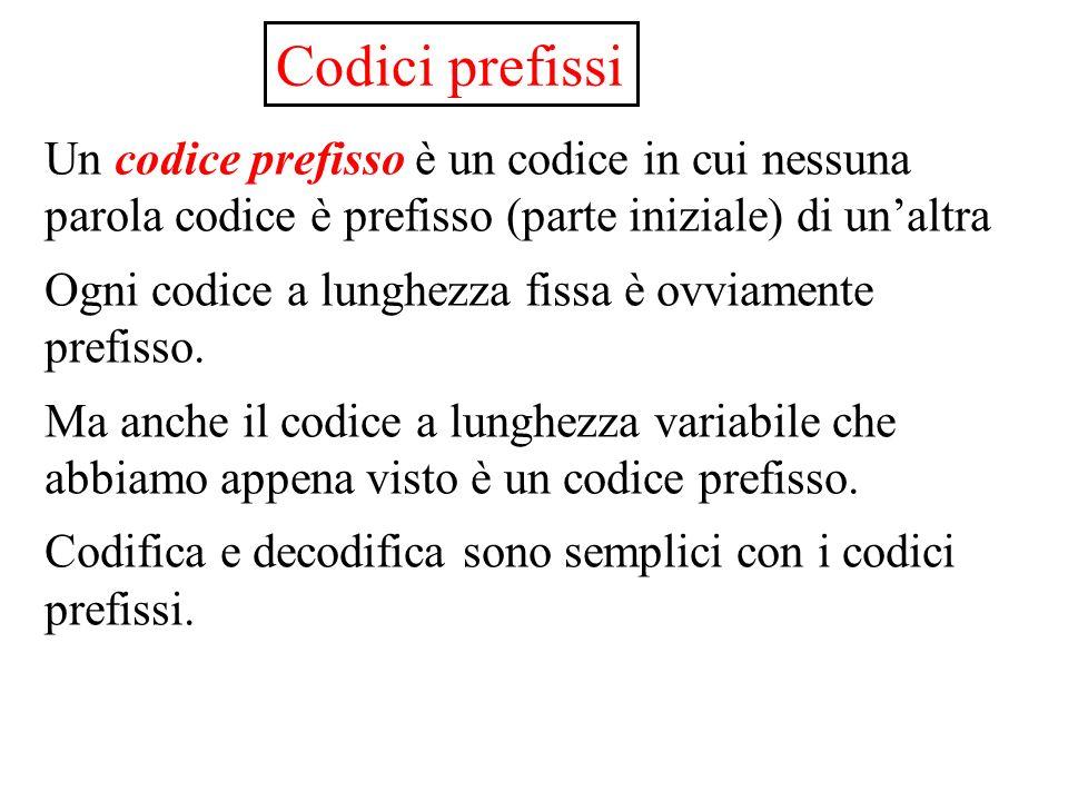 Codici prefissi Un codice prefisso è un codice in cui nessuna parola codice è prefisso (parte iniziale) di unaltra Ogni codice a lunghezza fissa è ovviamente prefisso.