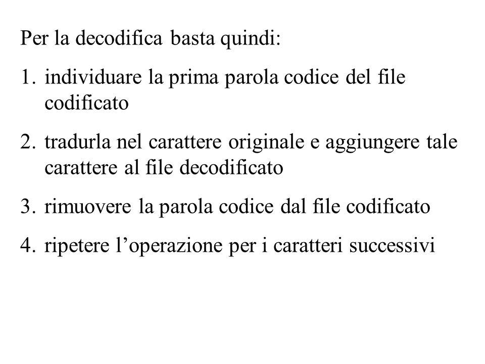 Per la decodifica basta quindi: 1.individuare la prima parola codice del file codificato 2.tradurla nel carattere originale e aggiungere tale carattere al file decodificato 3.rimuovere la parola codice dal file codificato 4.ripetere loperazione per i caratteri successivi