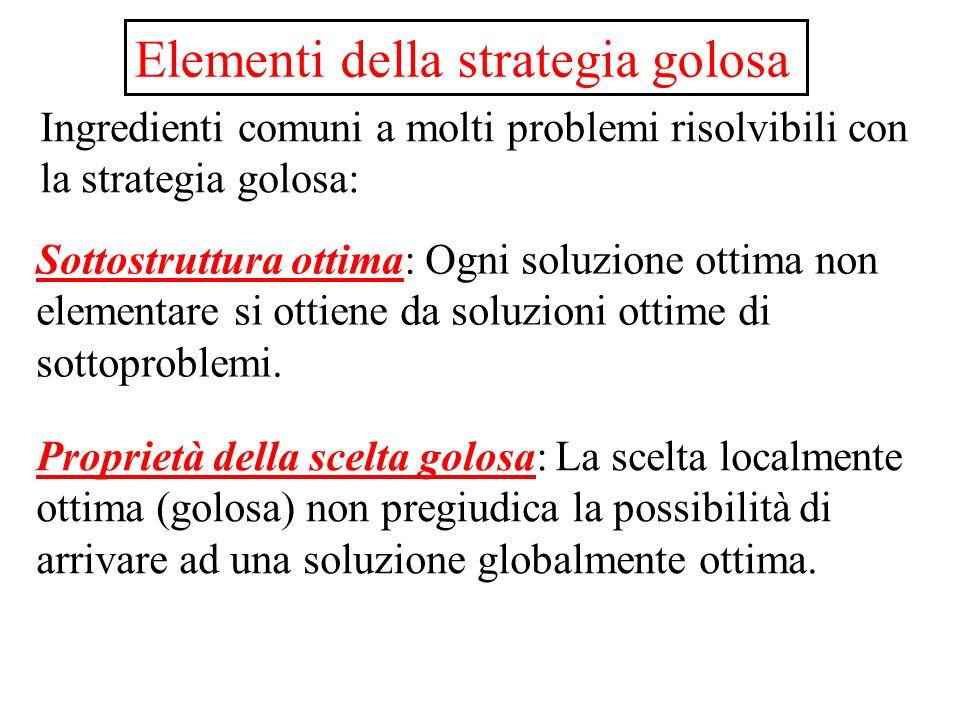 Elementi della strategia golosa Ingredienti comuni a molti problemi risolvibili con la strategia golosa: Sottostruttura ottima: Ogni soluzione ottima non elementare si ottiene da soluzioni ottime di sottoproblemi.