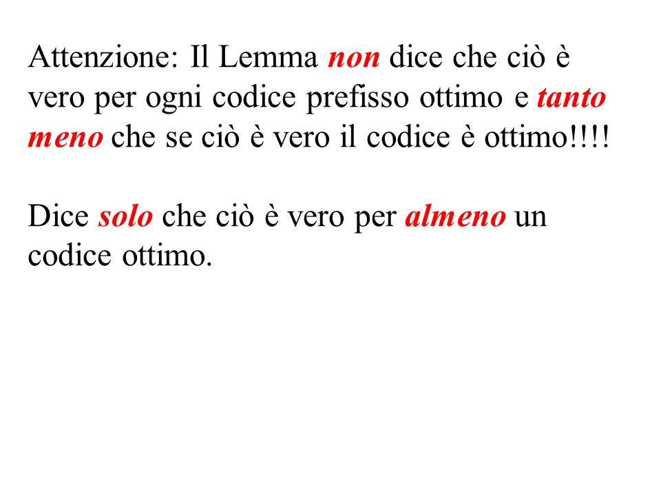 Attenzione: Il Lemma non dice che ciò è vero per ogni codice prefisso ottimo e tanto meno che se ciò è vero il codice è ottimo!!!.