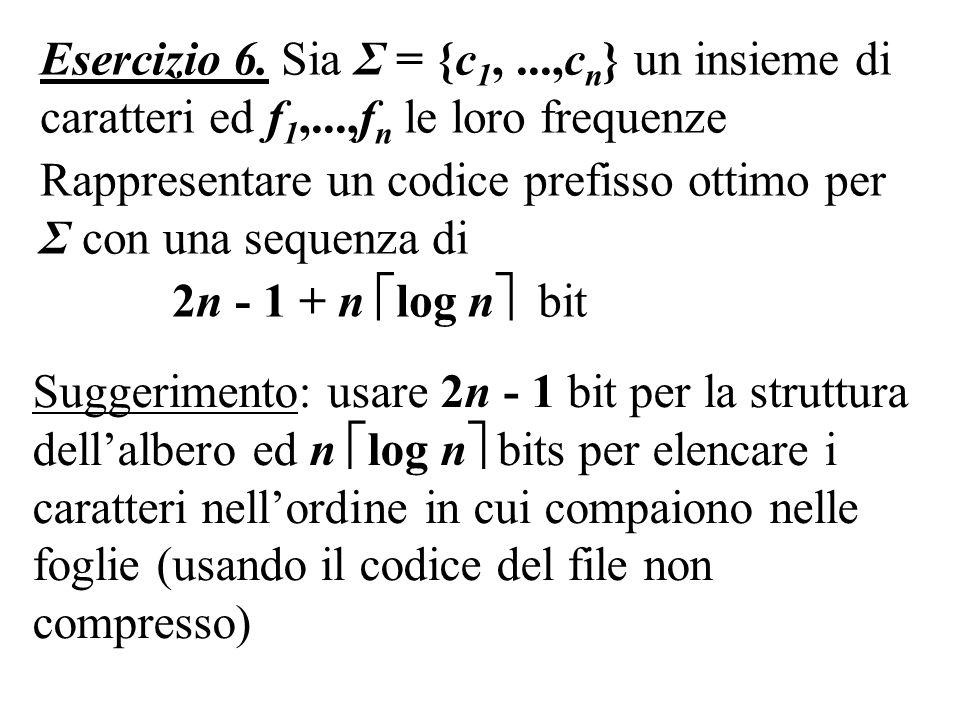 Suggerimento: usare 2n - 1 bit per la struttura dellalbero ed n log n bits per elencare i caratteri nellordine in cui compaiono nelle foglie (usando il codice del file non compresso) Esercizio 6.