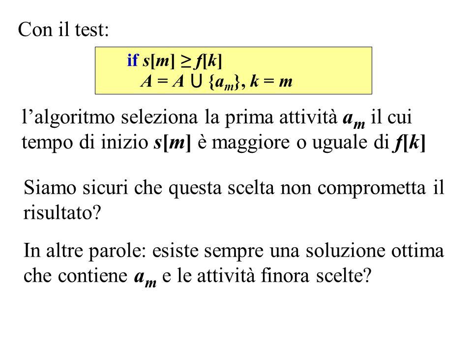 Con il test: Siamo sicuri che questa scelta non comprometta il risultato? In altre parole: esiste sempre una soluzione ottima che contiene a m e le at