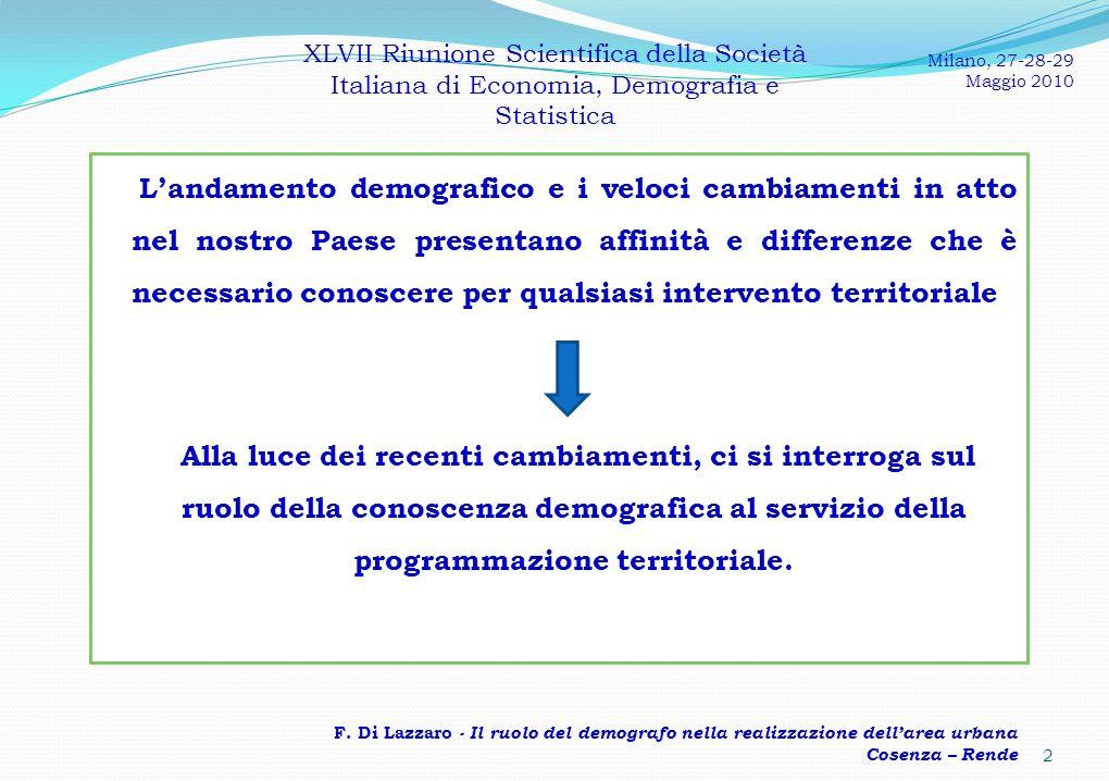 INDICE DI VECCHIAIA (%) COSENZA - RENDE F.