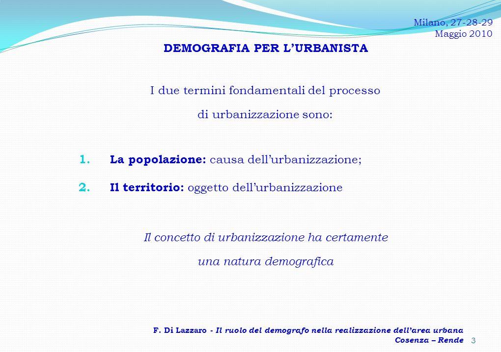 DEMOGRAFIA PER LURBANISTA I due termini fondamentali del processo di urbanizzazione sono: 1.