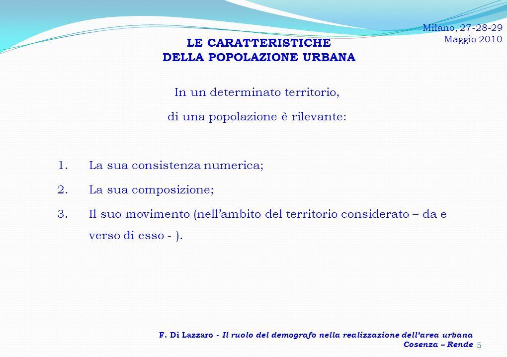 In un determinato territorio, di una popolazione è rilevante: 1.La sua consistenza numerica; 2.La sua composizione; 3.Il suo movimento (nellambito del territorio considerato – da e verso di esso - ).