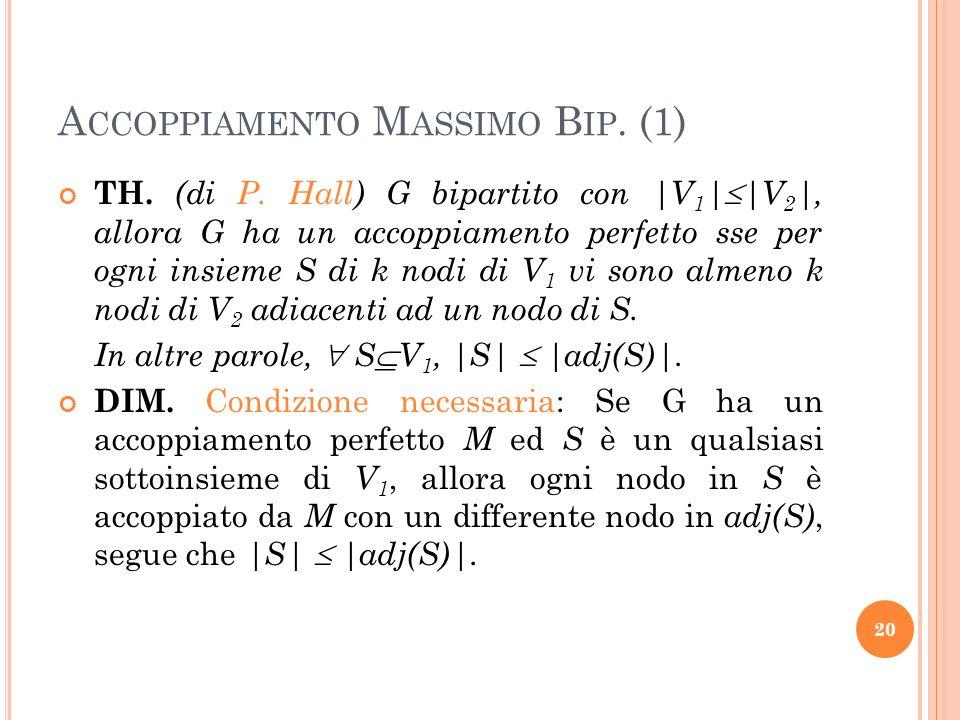 A CCOPPIAMENTO M ASSIMO B IP. (1) TH. (di P. Hall) G bipartito con |V 1 | |V 2 |, allora G ha un accoppiamento perfetto sse per ogni insieme S di k no