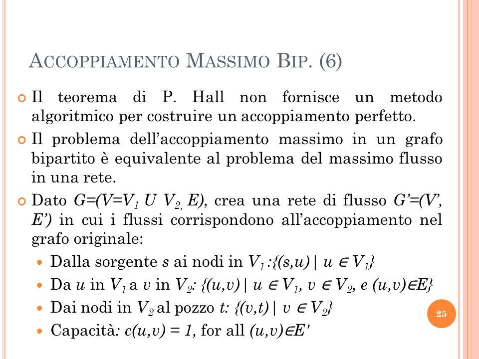 Il teorema di P. Hall non fornisce un metodo algoritmico per costruire un accoppiamento perfetto. Il problema dellaccoppiamento massimo in un grafo bi