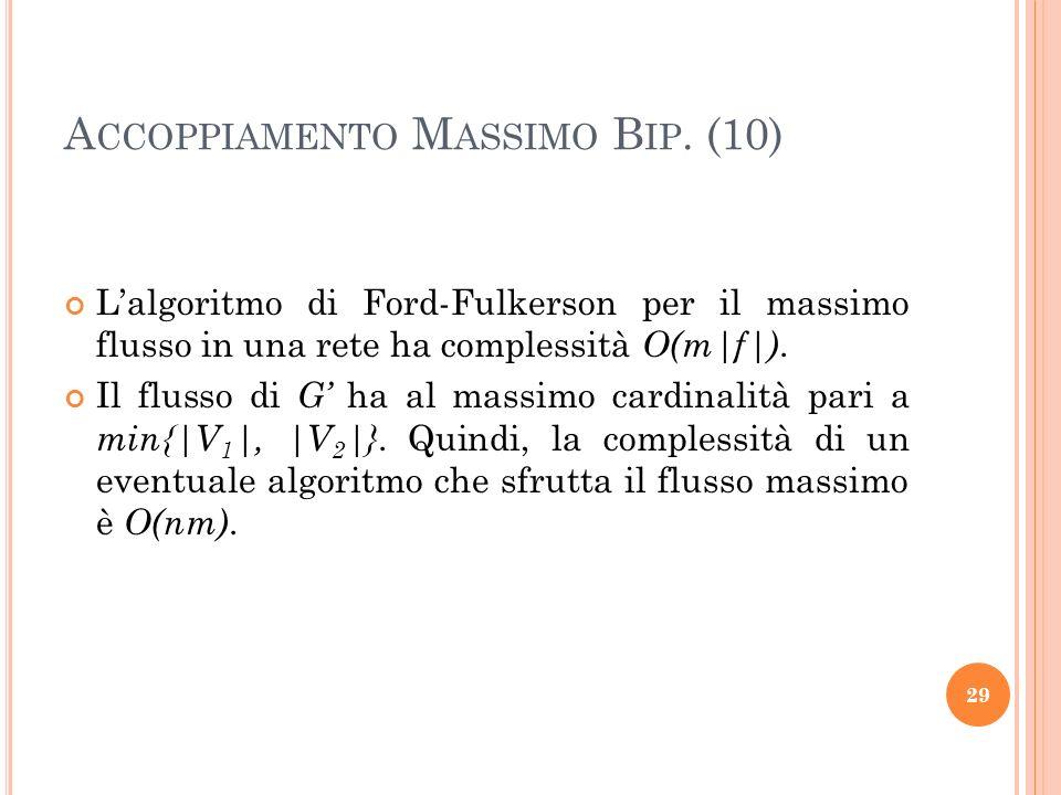 A CCOPPIAMENTO M ASSIMO B IP. (10) Lalgoritmo di Ford-Fulkerson per il massimo flusso in una rete ha complessità O(m|f|). Il flusso di G ha al massimo