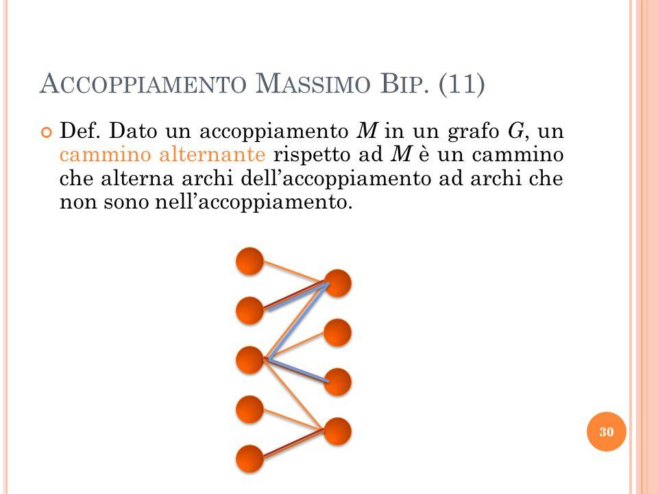 Def. Dato un accoppiamento M in un grafo G, un cammino alternante rispetto ad M è un cammino che alterna archi dellaccoppiamento ad archi che non sono