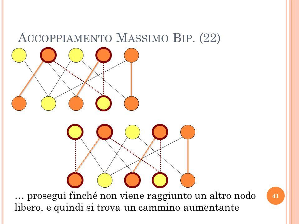 A CCOPPIAMENTO M ASSIMO B IP. (22) 41 … prosegui finché non viene raggiunto un altro nodo libero, e quindi si trova un cammino aumentante