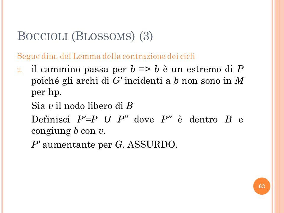 B OCCIOLI (B LOSSOMS ) (3) Segue dim. del Lemma della contrazione dei cicli 2. il cammino passa per b => b è un estremo di P poiché gli archi di G inc