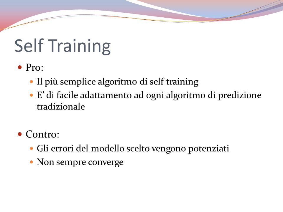 Self Training Pro: Il più semplice algoritmo di self training E di facile adattamento ad ogni algoritmo di predizione tradizionale Contro: Gli errori
