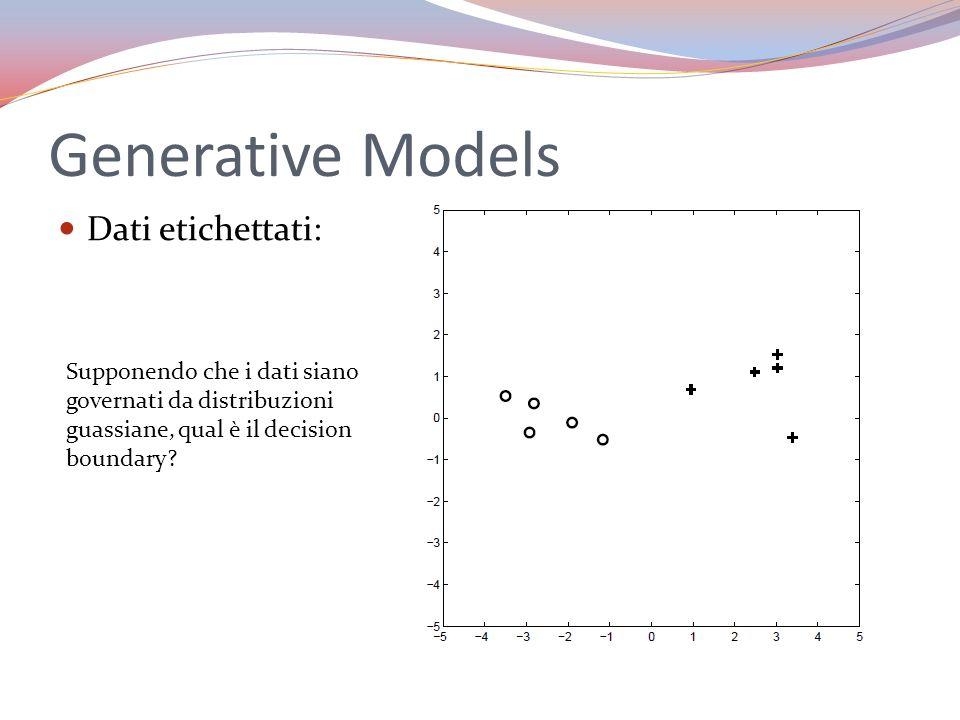 Generative Models Dati etichettati: Supponendo che i dati siano governati da distribuzioni guassiane, qual è il decision boundary?