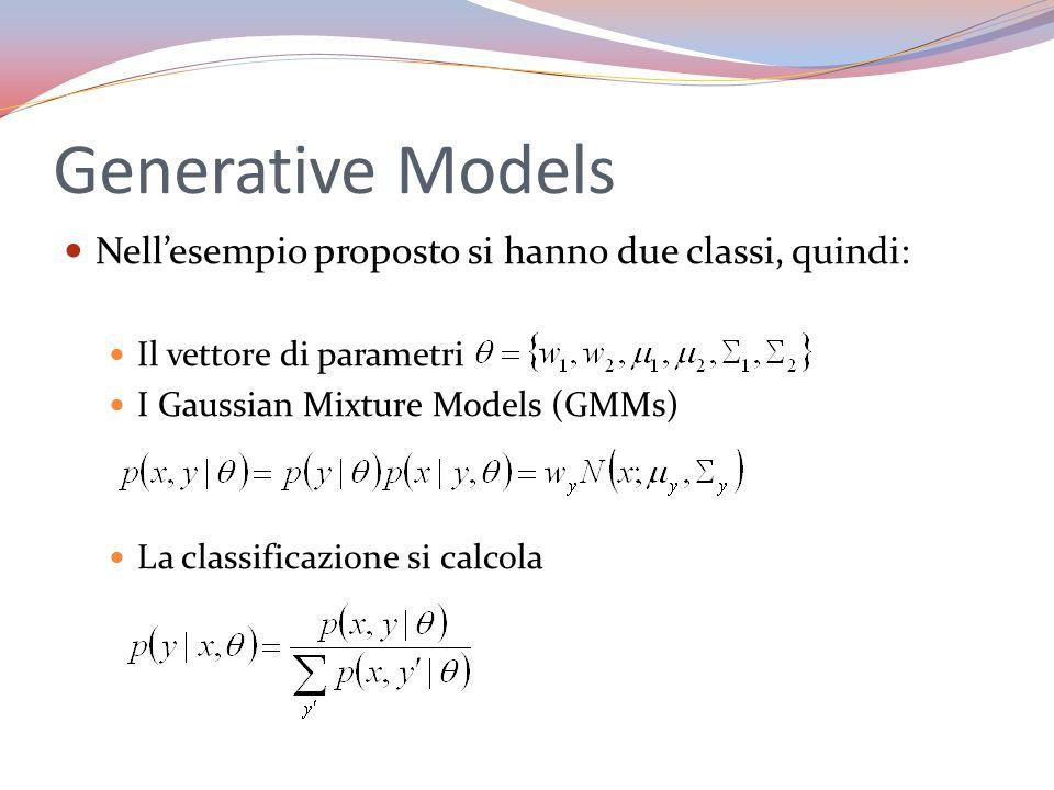 Generative Models Nellesempio proposto si hanno due classi, quindi: Il vettore di parametri I Gaussian Mixture Models (GMMs) La classificazione si cal