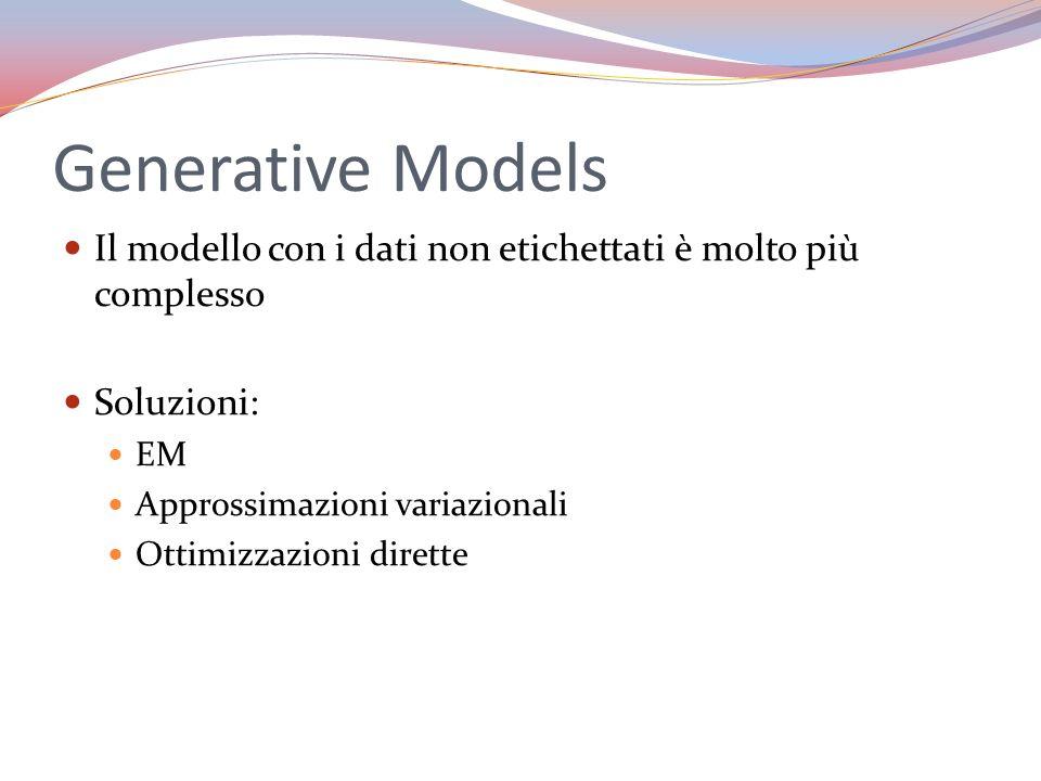 Generative Models Il modello con i dati non etichettati è molto più complesso Soluzioni: EM Approssimazioni variazionali Ottimizzazioni dirette