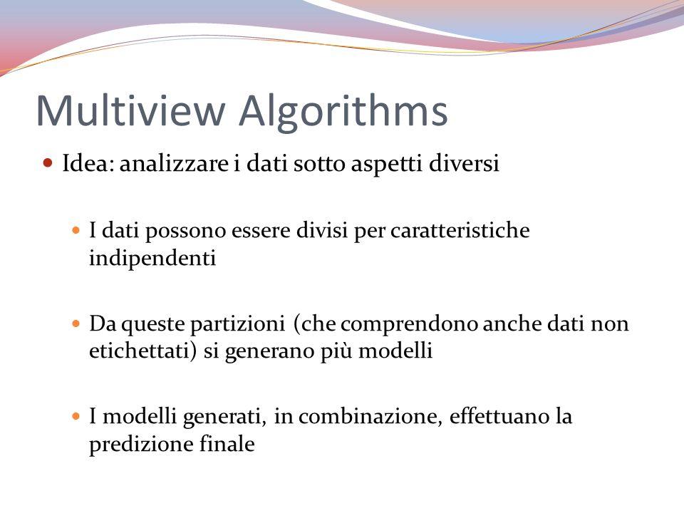 Multiview Algorithms Idea: analizzare i dati sotto aspetti diversi I dati possono essere divisi per caratteristiche indipendenti Da queste partizioni