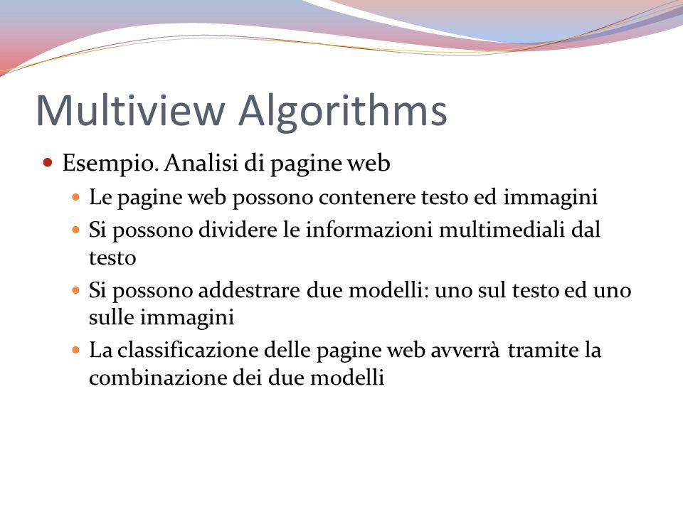 Multiview Algorithms Esempio. Analisi di pagine web Le pagine web possono contenere testo ed immagini Si possono dividere le informazioni multimediali