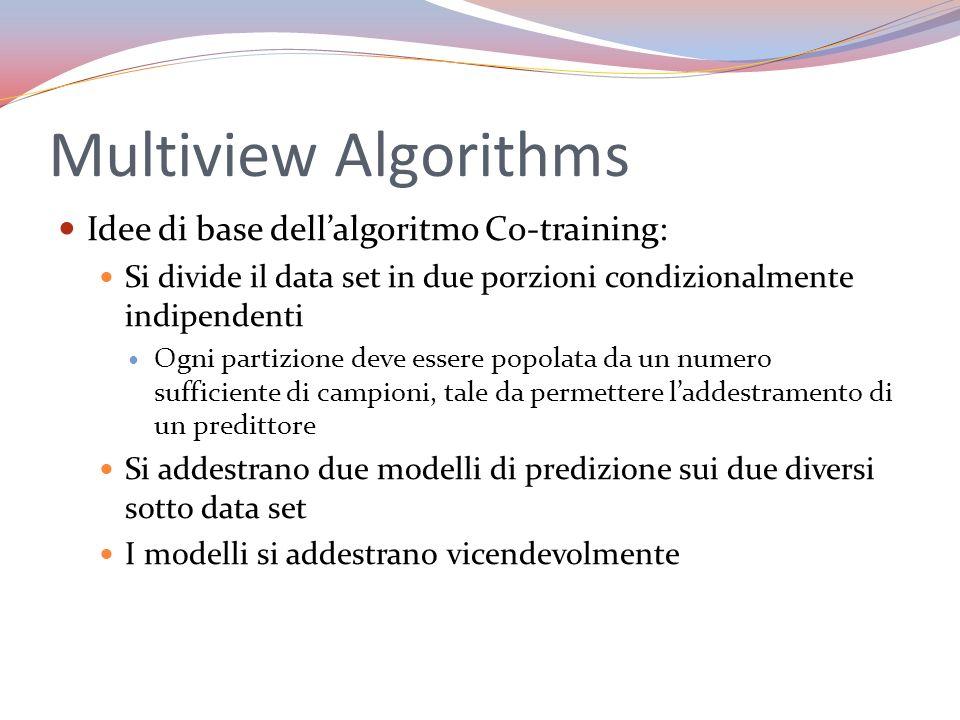 Multiview Algorithms Idee di base dellalgoritmo Co-training: Si divide il data set in due porzioni condizionalmente indipendenti Ogni partizione deve