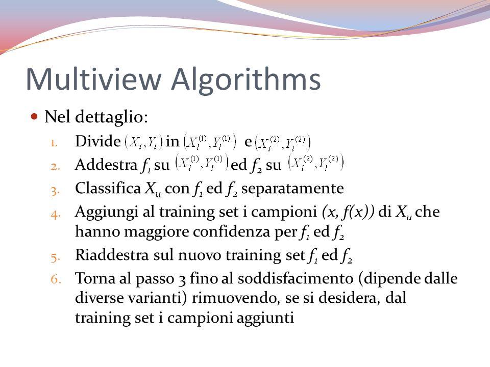 Multiview Algorithms Nel dettaglio: 1. Divide in e 2. Addestra f 1 su ed f 2 su 3. Classifica X u con f 1 ed f 2 separatamente 4. Aggiungi al training