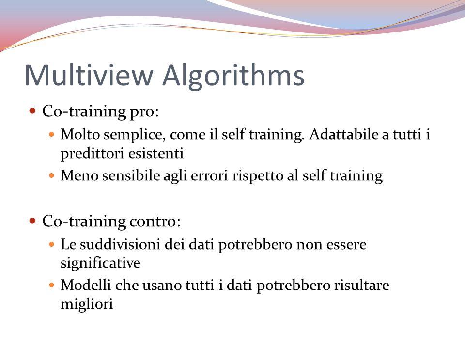 Multiview Algorithms Co-training pro: Molto semplice, come il self training. Adattabile a tutti i predittori esistenti Meno sensibile agli errori risp