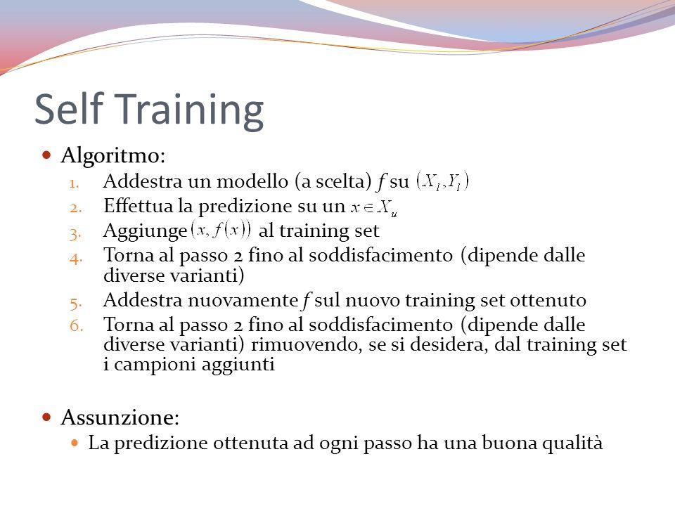 Self Training Algoritmo: 1. Addestra un modello (a scelta) f su 2. Effettua la predizione su un 3. Aggiunge al training set 4. Torna al passo 2 fino a