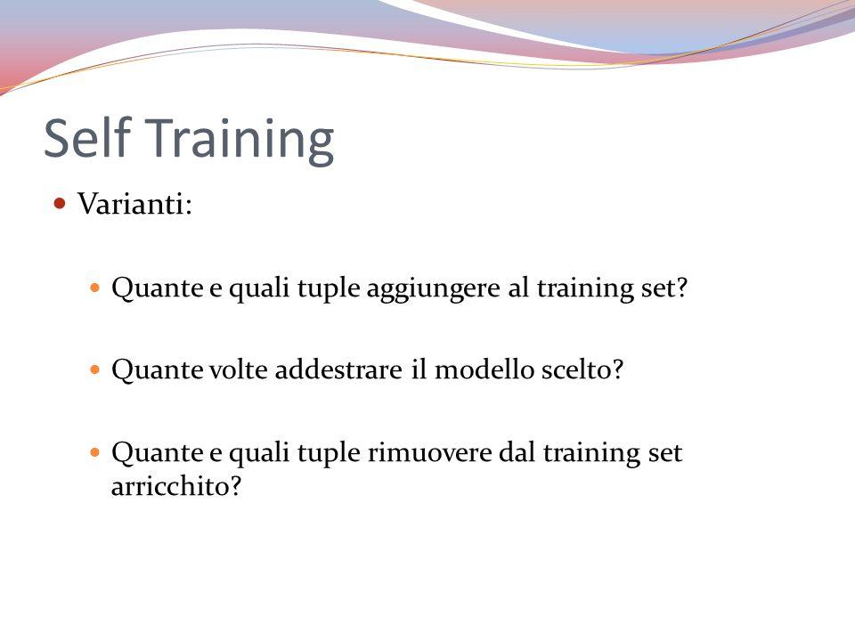 Self Training Varianti: Quante e quali tuple aggiungere al training set? Quante volte addestrare il modello scelto? Quante e quali tuple rimuovere dal