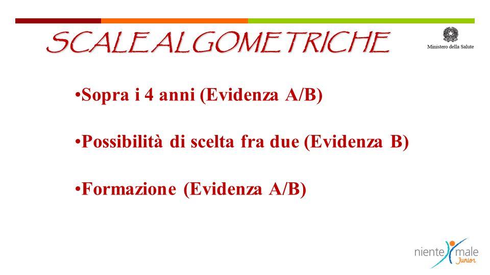 Sopra i 4 anni (Evidenza A/B) Possibilità di scelta fra due (Evidenza B) Formazione (Evidenza A/B) SCALE ALGOMETRICHE
