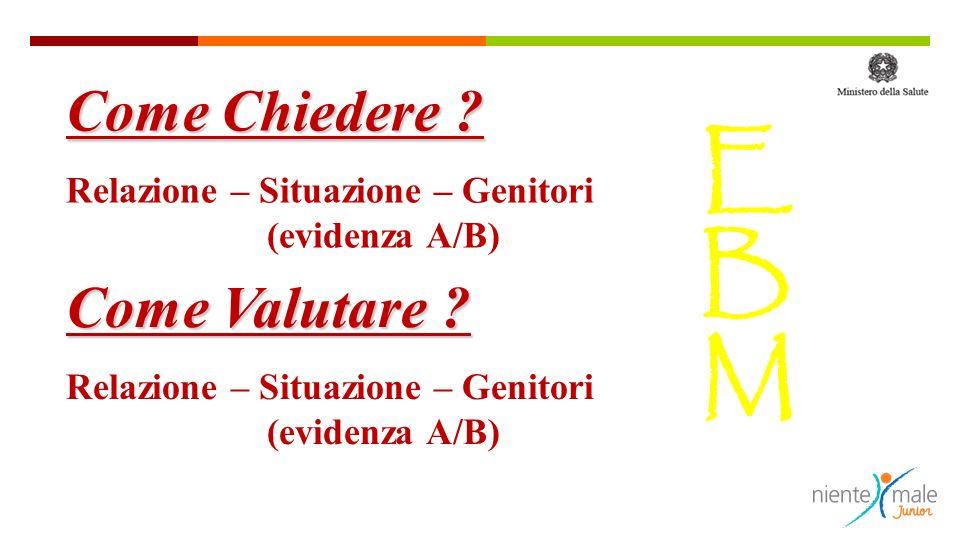 EBMEBM Come Chiedere ? Relazione – Situazione – Genitori (evidenza A/B) Come Valutare ? Relazione – Situazione – Genitori (evidenza A/B)