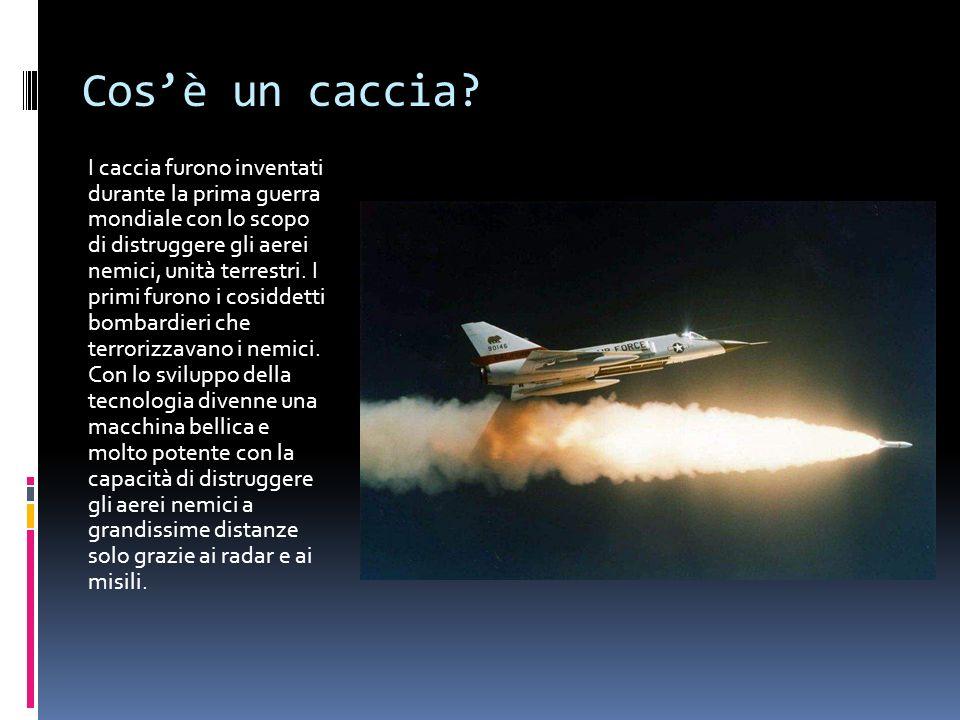 Cosè un caccia? I caccia furono inventati durante la prima guerra mondiale con lo scopo di distruggere gli aerei nemici, unità terrestri. I primi furo