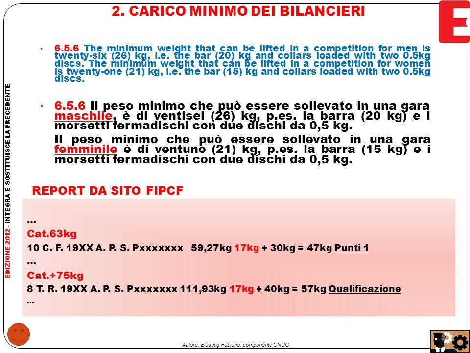 2.CARICO MINIMO DEI BILANCIERI - Art.