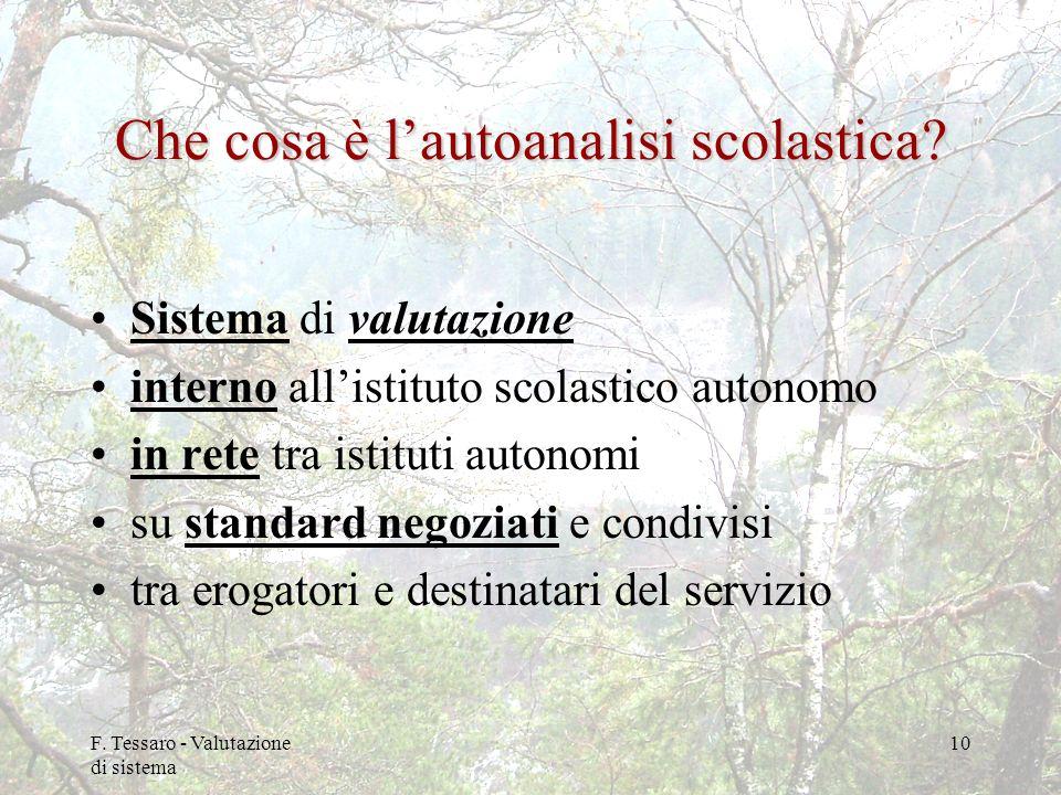 F. Tessaro - Valutazione di sistema 10 Che cosa è lautoanalisi scolastica? Sistema di valutazione interno allistituto scolastico autonomo in rete tra