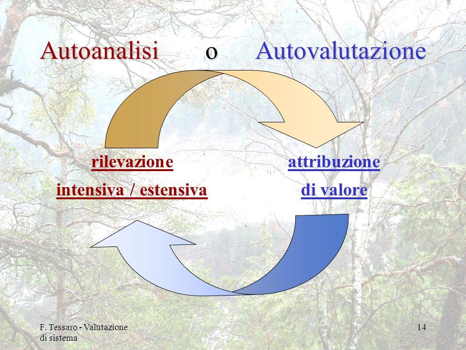 F. Tessaro - Valutazione di sistema 14 Autoanalisi o rilevazione intensiva / estensivaAutovalutazione attribuzione di valore