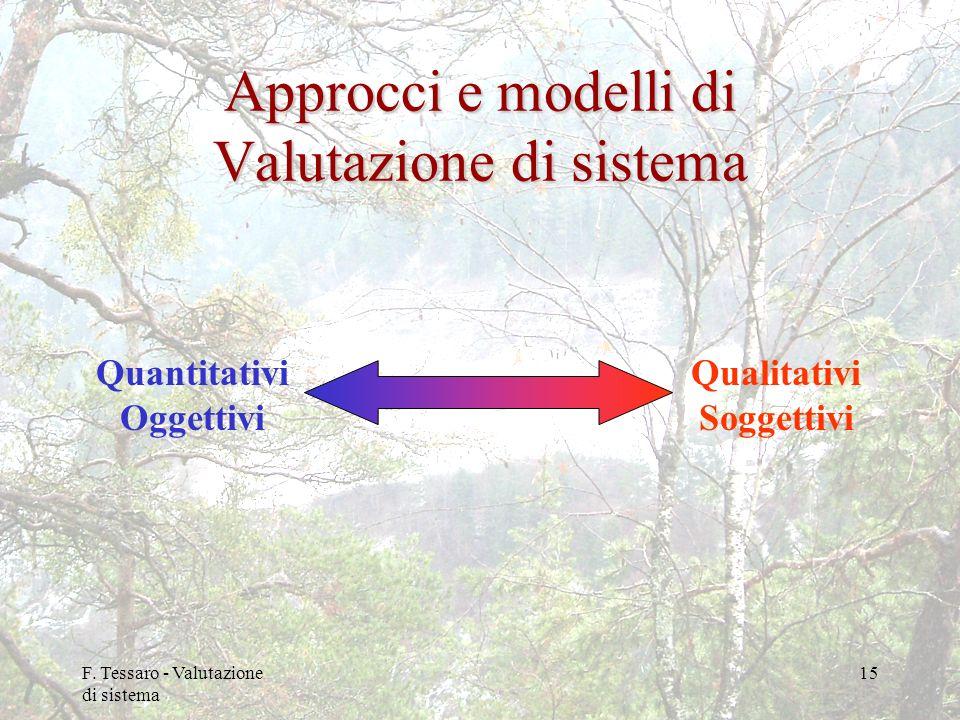 F. Tessaro - Valutazione di sistema 15 Approcci e modelli di Valutazione di sistema Quantitativi Oggettivi Qualitativi Soggettivi