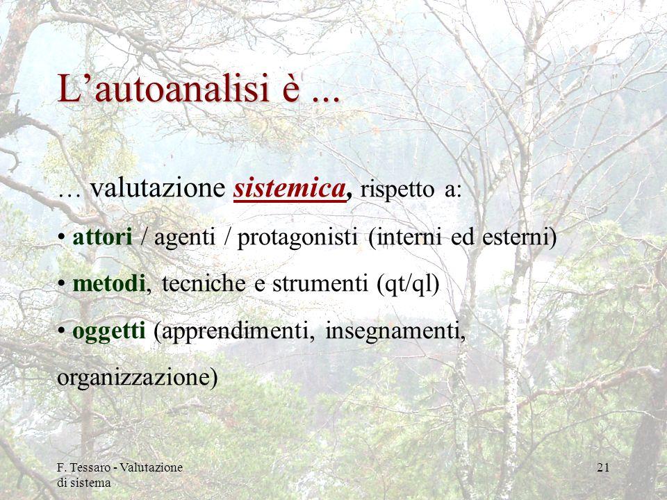 F. Tessaro - Valutazione di sistema 21 Lautoanalisi è... … valutazione sistemica, rispetto a: attori / agenti / protagonisti (interni ed esterni) meto